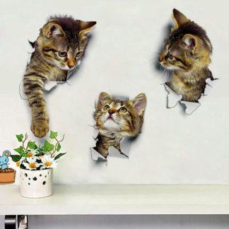 Домашний Декор кошки 3D Наклейка на стену