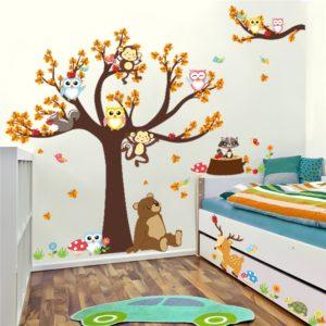 Лесная ветка животное мультяшная наклейки на стену