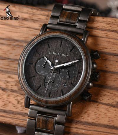 часы BOBO BIRD из нержавеющей стали в деревянном корпусе